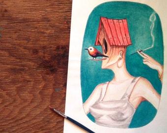 Original watercolor painting vintage surreal portrait illustration - Birdhouse Lady - Mrs. Perch