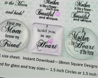 1.5 in, 38mm Mother, Mom, Pastel. BONUS 1 in Square and Round, Inspirational Quotes, Sayings,Instant Digital Download Collage Graphic 8.5x11