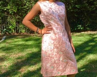 Dynasty Asian dress, pink satin dress, 16, size 16, 1960s