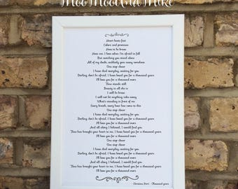 Add any song or poem   Custom Print   Wedding print   Wall prints   Wall decor   Home decor   Print only   Typography