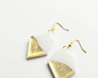 gold dipped earrings white and gold earrings gold nugget earrings large earrings geometric earrings contemporary jewelry resin jewelry