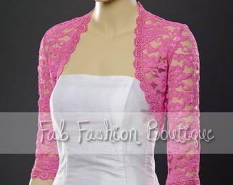 Fuchsia 3/4 sleeved lace bolero jacket shrug Size S-XL, 2XL-5XL