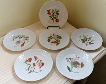 Vesca by Louis Lourioux Set of Six Canape Plates French Porcelain Phillippe Deshoulieres Flowers Butterflies Strawberries EC
