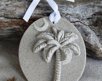 SC PALMETTO PALM Tree, Crescent Moon Sand Ornament
