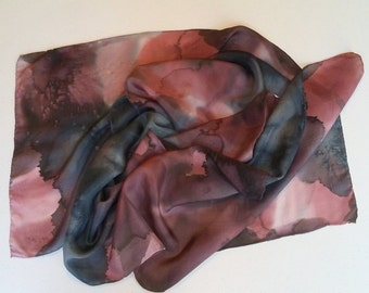 Black and Mauve Watercolor Silk Scarf