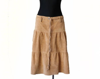 Vintage Camel Suede Skirt Leather Ruffle Skirt Hippie Low Waist Medium Size