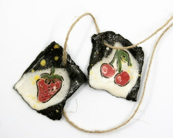 Set of 2 hanging fruit, strawberry, cherries, rustic, black, red, yellow task, enameled ceramic component for jewelry, pottery, unique ooak