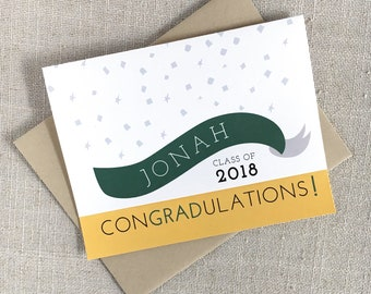 ConGRADulations! Custom Graduation Card / Class of 2018 / Custom Name and School Colors / High School or College Grad / Unique Congrats Card