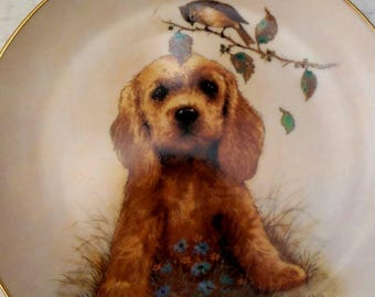 """Collectible Edwin Knowles plate entitled """"What's Up?"""" Puppy and songbird"""