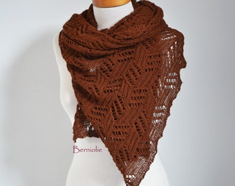 Lace knitted shawl, Brown, M156