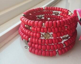 Bold Pink Coconut Bead Wrap Bracelet