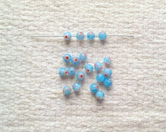 Glass Aqua Millefiori Beads - 4 mm - Filler Beads - Sets of 20                                                             04/18