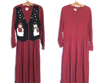 Vintage Christmas Dress 80's Dress 90s Dress Grunge Dress Red Plaid Dress Cabin Large Long Sleeve Christmas Vest Snowman Reversable vest P
