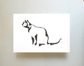 Minimal black and white cat print, cat glicee print, minimalist cat wall art, cat painting, cat print, modern cat print, cat illustration