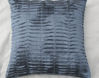 dark gray dupioni silk pintuck cushion cover decorative throw pillow cover. Granite gray pleated pillow cover  18inch