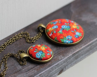 Colorful Boho Jewelry, Floral Fabric Necklace, Retro Hippie, Primary Colors, Blue Yellow Red Pendant, Small Or Large