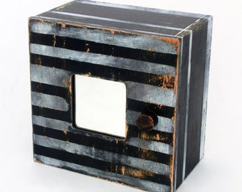 Key box, Black and withe box, Key cabinet, Black wall hanging wooden box, Wall wood box, Wall cabinet, White stripes, Black & white decor
