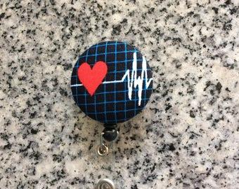 Heart EKG retractable ID Badge holder, heart, ekg, Nurses badge, fabric badge reel, ID clip, badge clip