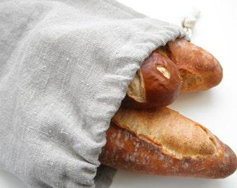 Linen Bread Bag, Natural Linen Bread Bag, Bread Bag, Long Loaf, Reusable Bread Keeper
