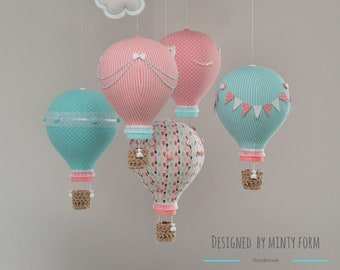Turquoise Coral Pink White Hot Air Balloon Mobile Travel Theme Nursery Decor Custom Mobile World Map