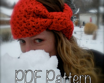 2 PATTERNS:  Bow Ear Warmer & Bobble Band, head band, giant bow, easy crochet pattern, ski band, INSTANT DOWNLOAD, permission to sell