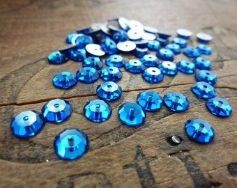 Vintage Swarovski  6mm Sew On Foiled Capri Blue (6)