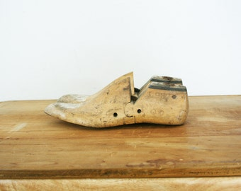 vintage 50s Pair Wooden Shoe Molds- Worn and Weathered Industrial Home Decor