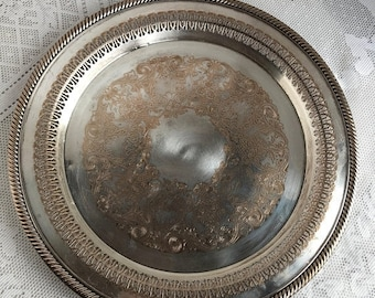 May Sale Vintage Punched Aluminum Serving Platter / Decorative Metal Barware Tray