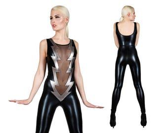 Lightning Bolt Catsuit, Sexy Bodysuit, Jumpsuit, Glam Rock, Stage Wear, Ziggy Stardust, Dancewear, Leotard, David Bowie, by LENA QUIST
