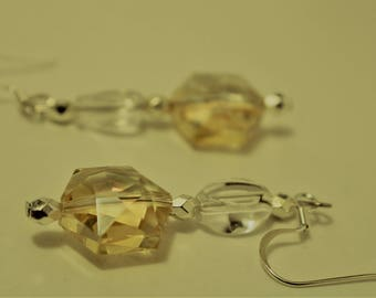 Crystal Clear and Topaz Colored Silver Earrings
