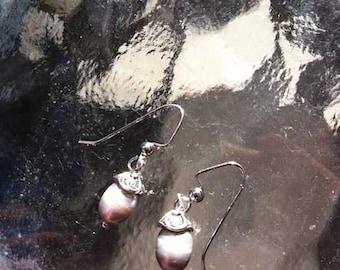 Grey Rice Pearl Earrings by DENISE SLOAN