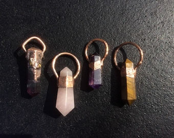 Electroformed Double Terminated Copper Crystal Necklace Pendants