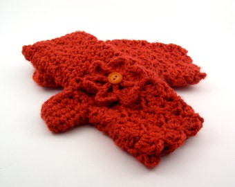 Tangelo Orange Crochet Fingerless Gloves with Flower, Orange Texting Gloves, Orange Wristwarmers, GL134-01