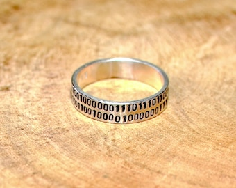 Sterling silver ring hand stamped with I love you in binary code or your own custom and personalized message - RG711N