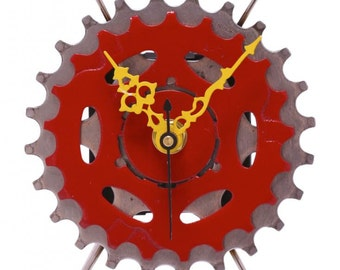 Recycled Bicycle Sprocket & Spoke Desk Clock - Red