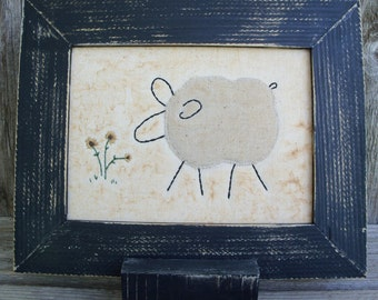 Rustic Country Sheep with Flowers Stitchery, Farmhouse Decor, Framed Stitchery, Handsewn, Ewe, Farm Animal, Country Decor,