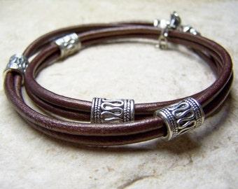 Unisex Ankle Bracelet, Metallic Brown Anklet or Leather Bracelet, Petite to Plus Size