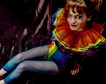 Rainbow Fairy Ruff / collar / ruffle neck band - 7 layer Ribbon edge - 6 Colours - fairylove