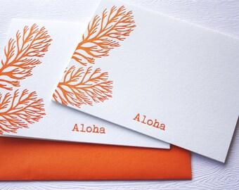Ocean Coral Letterpress Folded Cards Aloha Mahalo