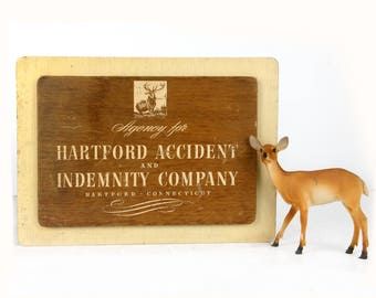 "SALE, advertising sign, Hartford, Connecticut, wood, 14"" x 10"", shabby chic, cabin decor, Hartford Accident and Indemnity, stag, 1930s"