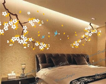 blossom branch with Flying Birds -Vinyl Wall Decal,pink flower, wall decal tree nursery wall decal baby wall decal children wall decal