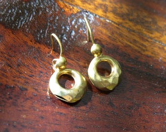 Tiny Antique Victorian Drop Earrings - Gold Tone - 1870s to 1880s - Faceted Texture - AS IS
