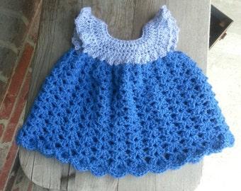 Crochet baby girl dress size 0-3 mo. ruffle sleeve