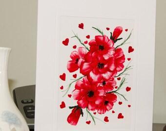 Encaustic Wax Original Art Card, Floral card 5, Valentine