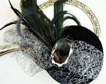 Black Velvet  and Silver Feather Opera  Fascinator