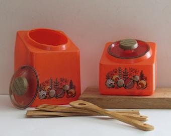 vintage kitchen decor - Orange Canister Set - 2 canister set