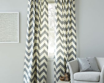 Flash Sale 48 hours only- 20% off now Grey and White Stripe Window Treatments/ Curtains today ONLY