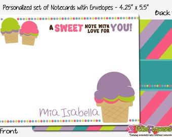 """Ice Cream Note Cards - Set of Personalized Note Cards - 4.25"""" x 5.5"""" - Double-Sided Thank you Cards - Children Stationery - Kids Notecards"""