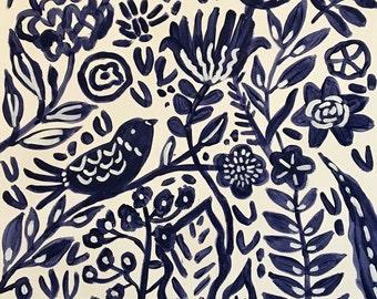 Original Painting Bohemian Flowers Bird Painting on 18 x 24 Paper by Karen Fields