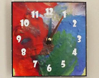 Bright Color Clock, Home Decor, Contemporary Clock, Wall Clock, Red, Blue, Green, Funky Clock, Housewares, Modern, Chic